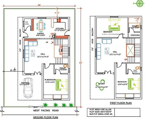 home design in 50 yard duplex floor plan yards land feet buit area home