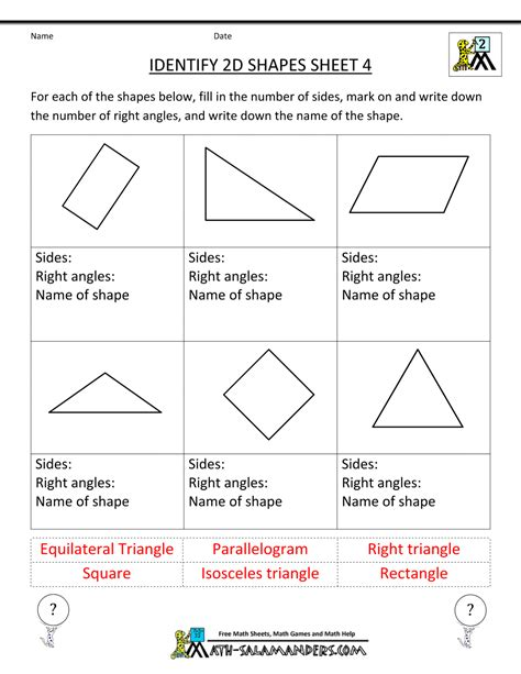 worksheets on shapes for grade 2 second grade geometry
