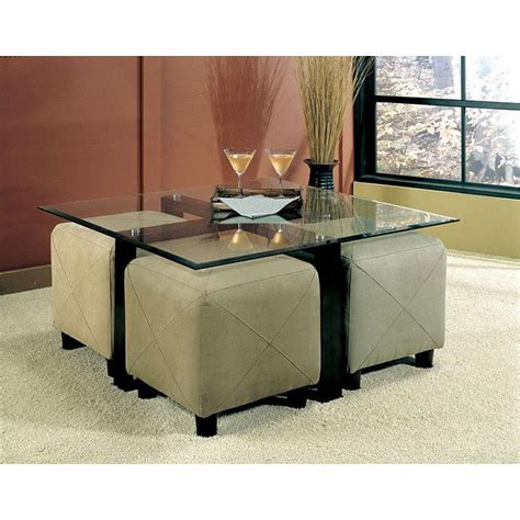 center table with ottoman cermak customizable coffee table set w ottomans coaster