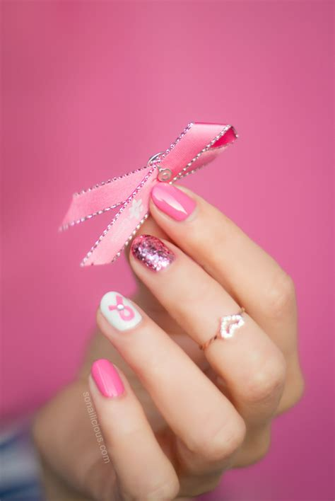 nail art ribbon design tutorial pink ribbon nails