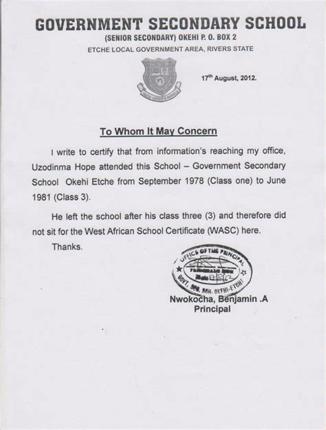 certification letter for school application letter bonafide certificate school