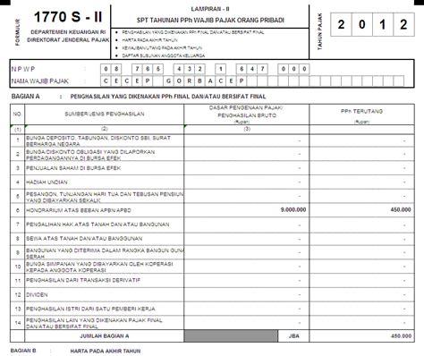 form spt 1770 s tahun 2015 formulir spt tahunan pph orang pribadi 1770 tahun 2013