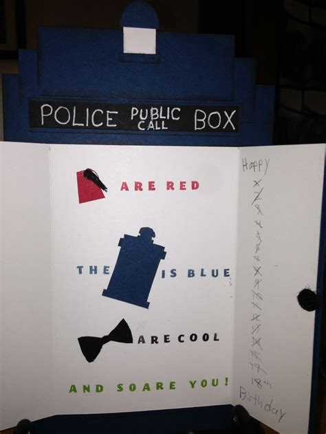 doctor who cards doctor who birthday card inside stin up products