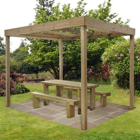 forest garden wooden dining pergola without panels