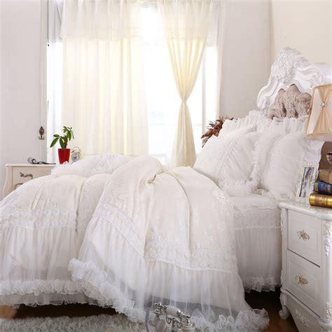 white ruffle comforter full luxury princess white bedding set full queen cotton