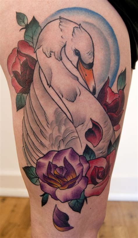 swan tattoo neo traditional swan by jason swan