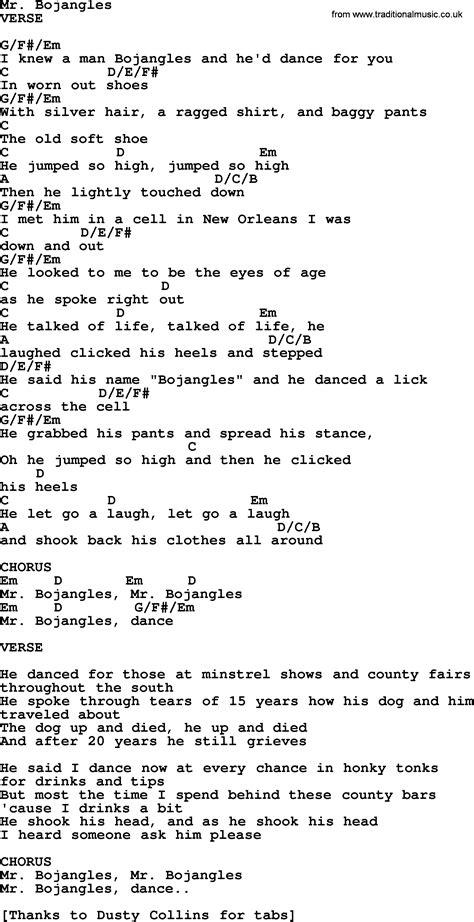 lyrics mr mr bojangles bluegrass lyrics with chords