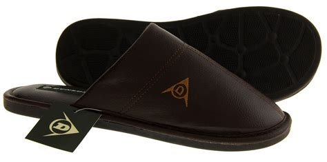 mens comfy slippers new mens brown dunlop leather effect slip on comfy house