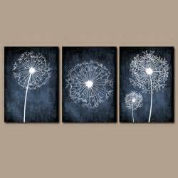 Navy Blue Wall Decor dandelion wall flower navy blue custom colors by trmdesign