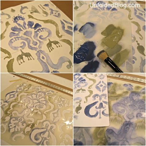 chalk paint stencils how to stencil a shower curtain using an ikat pattern and