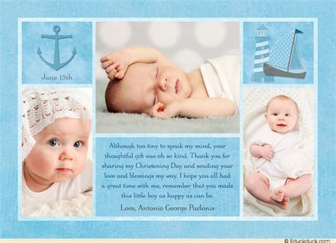baby collage card add on baptism multi photo collage thank you card personalized