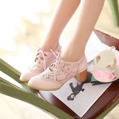 Pointy Lace Ups new womens lace ups pointy toe chunky block mid heels mesh