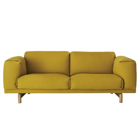muuto sofa muuto rest 2 seater sofa yellow hallingdal 457 houseology