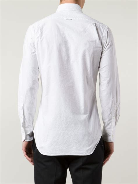 Collar Shirt 1 thom browne striped collar shirt in white for lyst