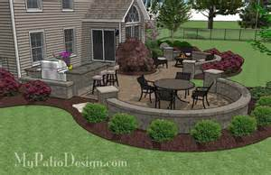 large paver patio design with grill station seat walls
