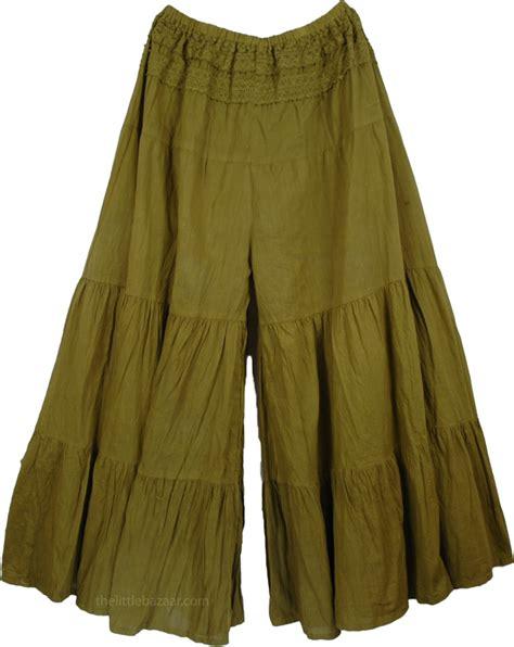 Pant Skirt bohemian green gaucho pant skirts clearance sale on bags skirts jewelry at polkadotinc
