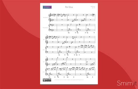 per elisa testo per elisa di beethoven spartito per pianoforte a 4