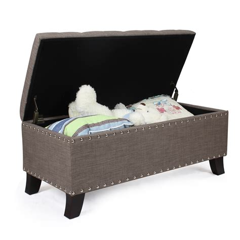 Joveco Fabric Retangular Button Tufted Nailhead Trim Nailhead Storage Ottoman
