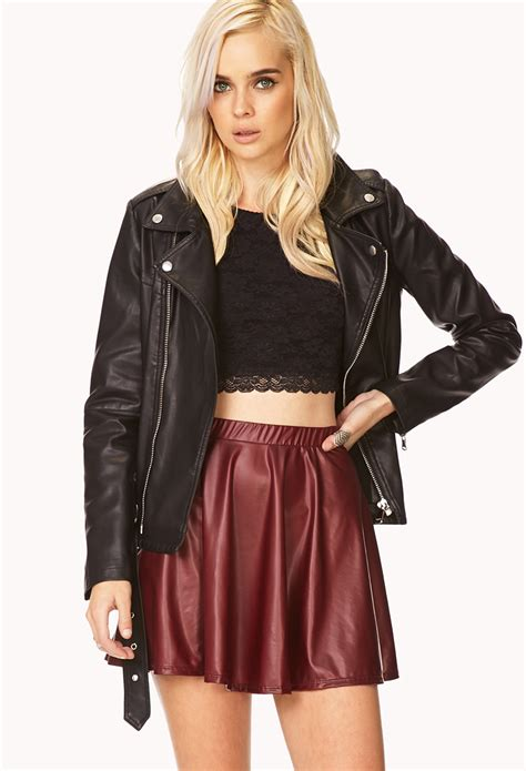 forever 21 faux leather a line skirt in brown lyst