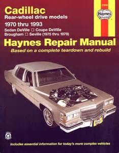 sedan deville coupe brougham seville repair manual 1970