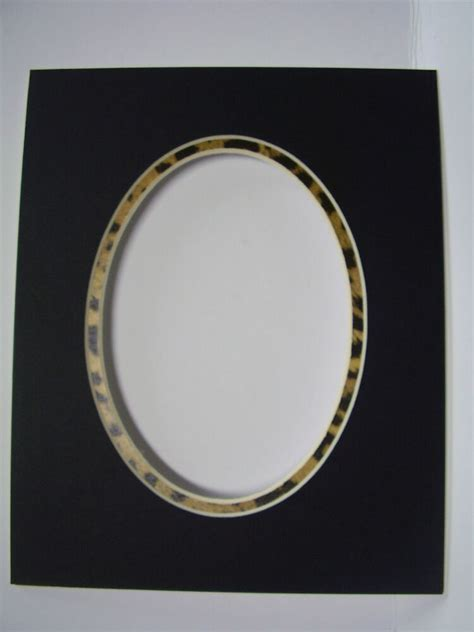 picture frame mat 8x10 for 5x7 photo black oval with