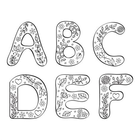 printable alphabet doodles a f black and white doodle doodles and kid activities