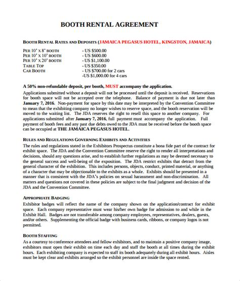 booth rental agreements sample templates