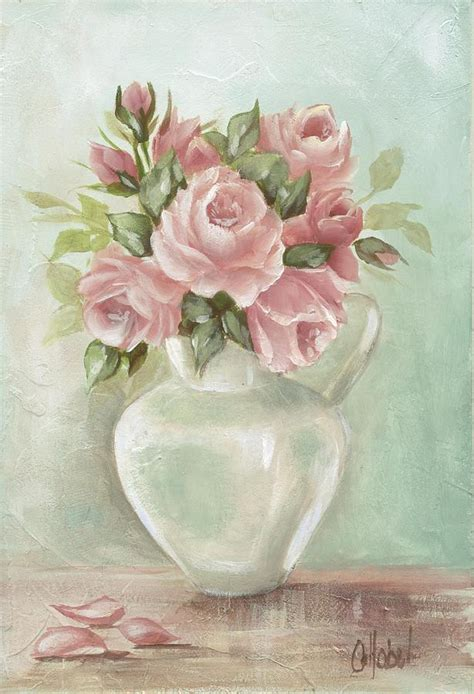 shabby chic pink roses painting on aqua background