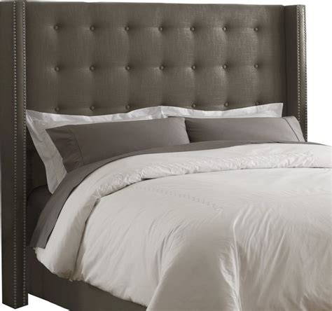 Gray Headboard by Skyline Furniture Linen Nail Button Wingback Headboard