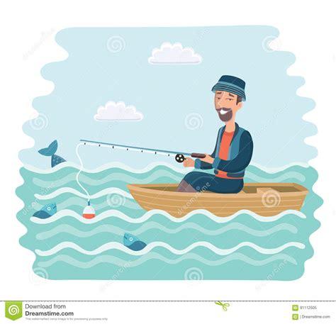 cartoon man in boat fishing fishing on the boat man stock vector image 91112505