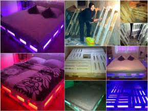 Bed Frame With Lights Recycled Wood Pallet Decoration And Functionality Home Design Garden Architecture