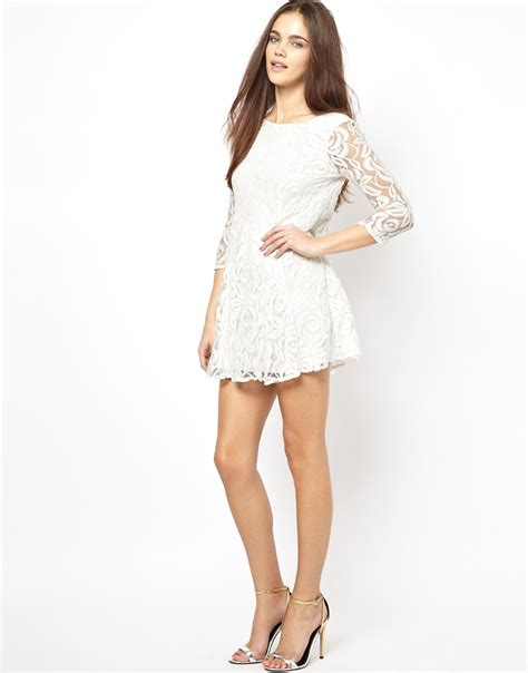 white swing dress john zack lace swing dress with deep v back in white lyst