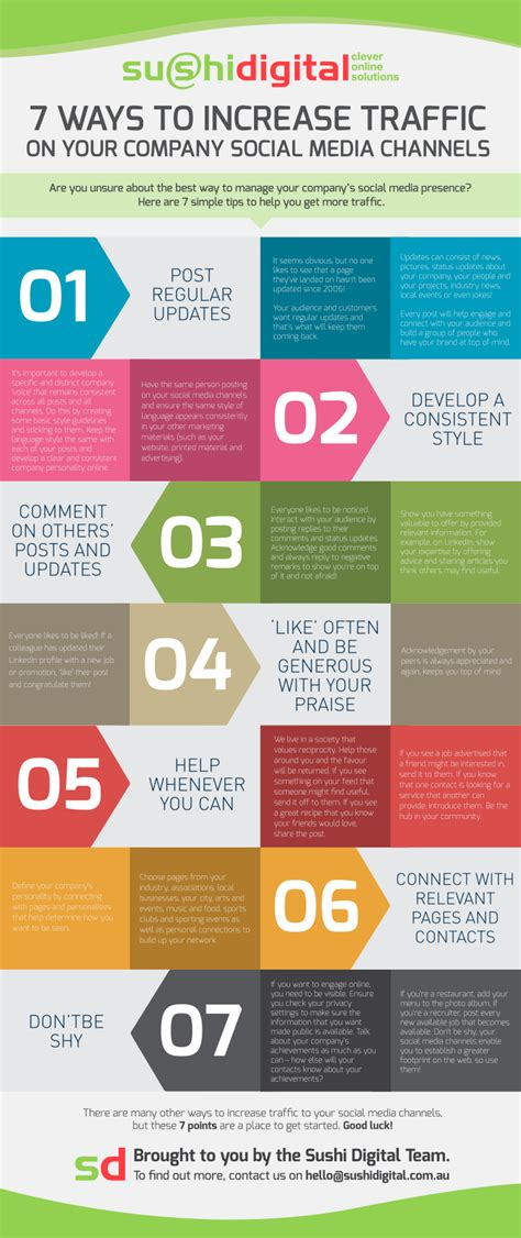 7 Tips On Getting Traffic To Your by 7 Ways To Increase Your Social Media Traffic Infographic
