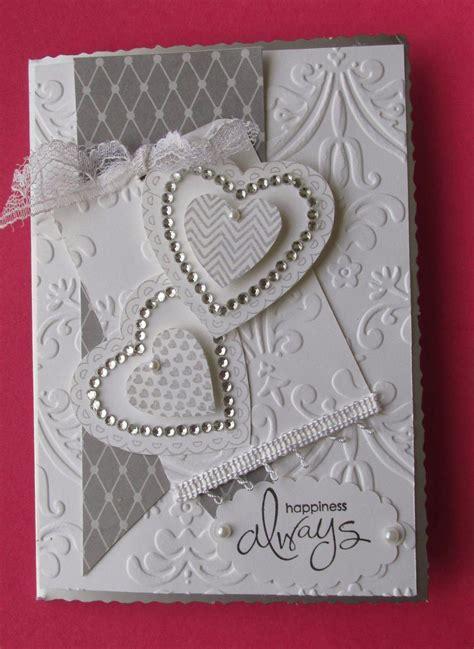 Wedding card, hearts and embossing.   card ideas   Wedding