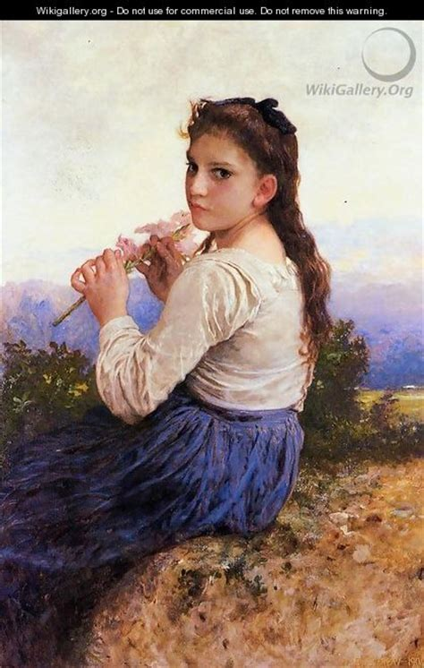 william adolphe bouguereau young girl young girl holding a pink gladiolus william adolphe