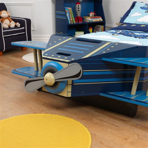 plane bed kidkraft 76269 kids airplane plane toddler bed boys blue