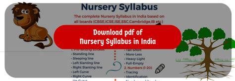 nursery syllabus  india