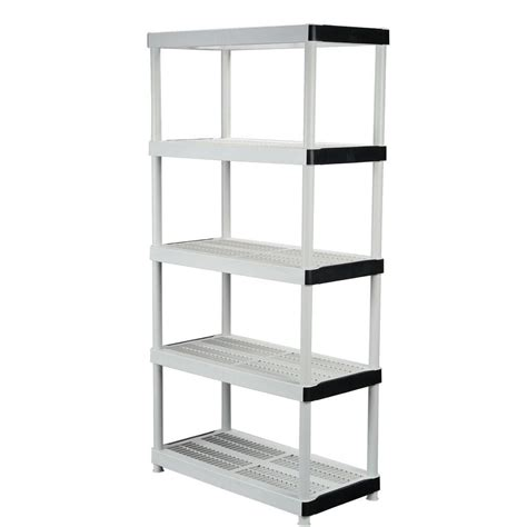 home shelving hdx 36 in w x 72 in h x 18 in d 5 shelf plastic