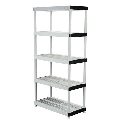HDX 36 in. W x 72 in. H x 18 in. D 5 Shelf Plastic Ventilated Storage Unit 127932   The Home Depot