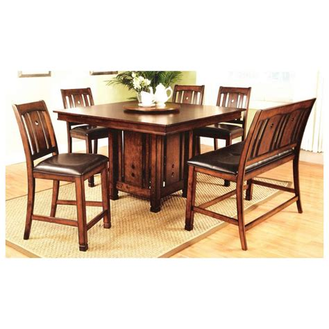 Counter Height Pedestal Dining Table 7 Pc Oak Finish Wood Counter Height Square Dining Table Set With Pedestal Base Join The