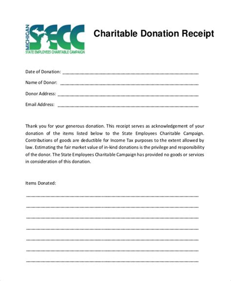 Charitable Donation Tax Receipt Template by 5 Charitable Donation Receipt Templates Formats