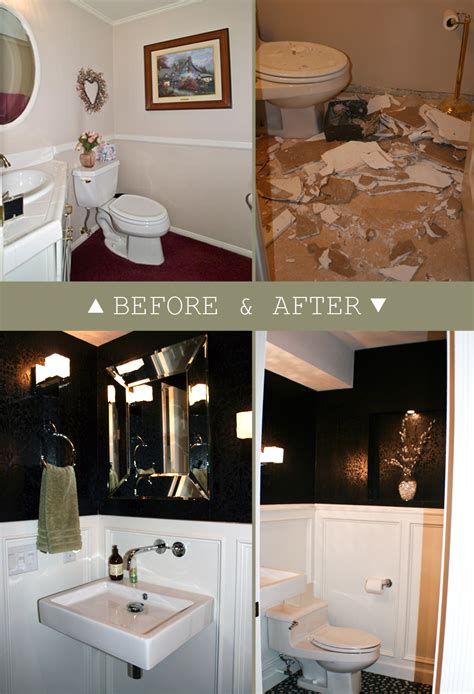 Remodel Powder Room - remodelaholic powder room with black and white walls