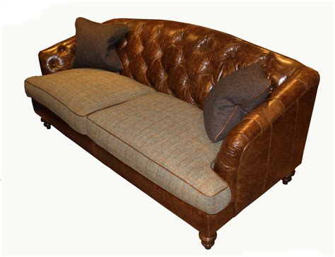 Leather And Tweed Sofa Tetrad Dalmore Midi Sofa In Option B Harris Tweed