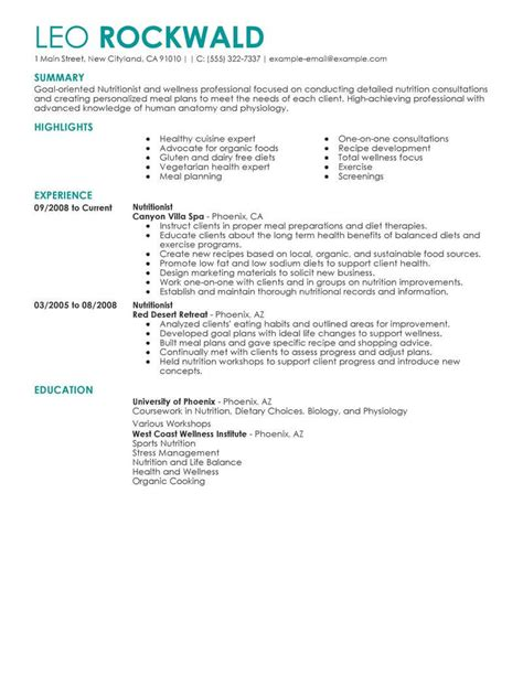 Dietician Cover Letters by Best Nutritionist Resume Exle Livecareer