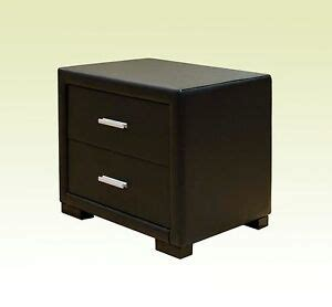 Black Leather Nightstand by Leather Nightstand Black Color Two Drawers Ebay