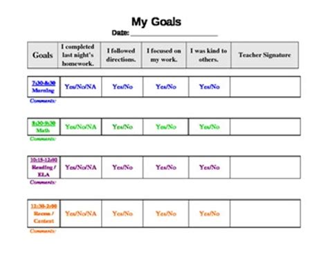 Free Behavior Chart Template By Corrina Allen Teachers Pay Teachers Behavior Chart Template