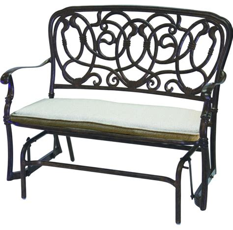 wrought iron patio glider bench darlee florence cast aluminum patio bench glider antique