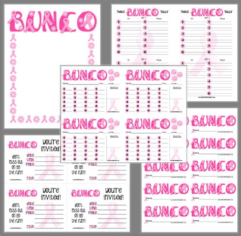 Bunco Score Card Templates Valentines by Awareness Bunco Bunco Printables