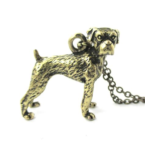3d realistic boxer breed animal charm necklace in