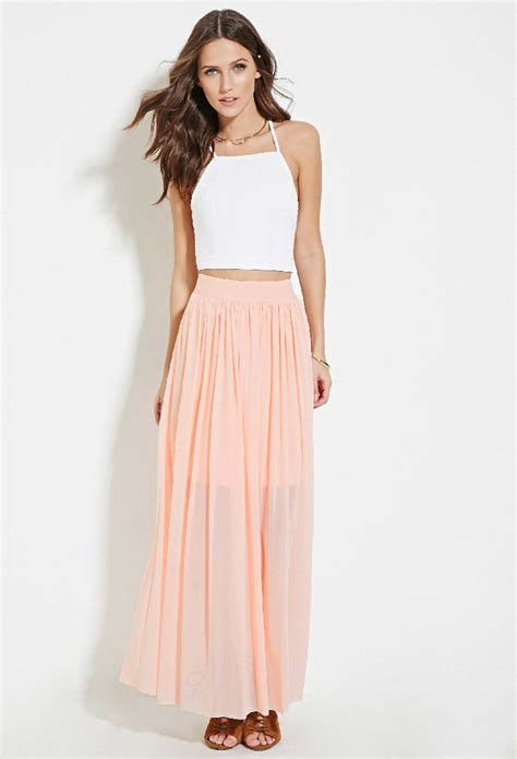 forever 21 tulle maxi skirt in pink lyst